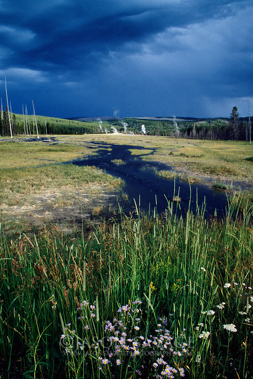 Summer storm passing through Yellowstone National Park