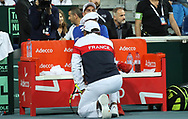 Coach Yannick Noah and Benoit Paire (French) during the 2018 Davis Cup, semi final tennis match between France and Spain on September 14, 2018 at Pierre Mauroy stadium in Lille, France - Photo Laurent Lairys / ProSportsImages / DPPI