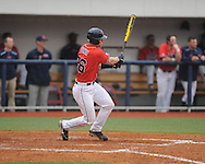 Ole Miss' Stuart Turner (26) drives in 2 runs in the 7th inning vs. Lipscomb at Oxford-University Stadium in Oxford, Miss. on Sunday, March 10, 2013. Ole Miss won 9-8. The Rebels improve to 16-1.