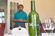 Antoine Gonzalez, the chief winemaker, a glass of red wine, and a barrel sample of the 2003 vintage - Chateau Belgrave, Haut-Medoc, Grand Crus Classee 1855