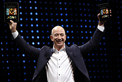 March 30, 2017 - FILE - JEFF BEZOS, Amazon (AMZN) founder and CEO, is now the second-richest person on the planet. Bezos' wealth climbed to 5.6 billion on Wednesday, according to the Bloomberg Billionaires Index. Helping Bezos get to the No. 2 perch: A rally in Amazon shares to a record. They closed up 2% at 74.32, lifting Amazon's market cap to 22 billion. Bezos owns nearly 17% of Amazon's shares, worth 0 billion, according to S&P Global Market Intelligence. Pictured: Sept. 6, 2012 - Santa Monica, California, U.S. - Jeff Bezos, chief executive officer of Amazon.com Inc., introduces new Kindle Fire HD tablets in different sizes at a news conference. (Credit Image: © Patrick Fallon via ZUMA Wire)