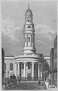 St Mary's church,Wyndham Place, engraving 'Metropolitan Improvements, or London in the Nineteenth Century' London, England, UK 1828 , drawn by Thomas H Shepherd