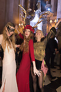 LUCY ORR-EWING; BLANCHE HOWARD; TISH WALKER, Ball at to celebrateBlanche Howard's 21st and  George Howard's 30th  birthday. Dress code: Black Tie with a touch of Surrealism. Castle Howard. Yorkshire. 14 November 2015