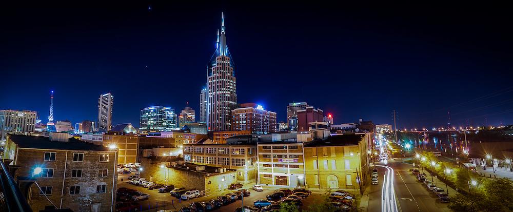 Downtown Nashville and the Cumberland Riverfront are seen from the John Seigenthaler pedestrian bridge.