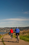 Bikers on path at Cesar Chavez City Park, Berkeley Waterfront, Alameda County, California