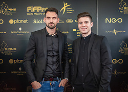 Matjaz Rozman and Zan Flis during SPINS XI Nogometna Gala 2019 event when presented best football players of Prva liga Telekom Slovenije in season 2018/19, on May 19, 2019 in Slovene National Theatre Opera and Ballet Ljubljana, Slovenia. ,Photo by Urban Meglic / Sportida