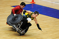 GB Cup 2011, Wheelchair rugby,  also known as 'murderball' event at Sport Wales national centre in Cardiff. Pic By  Andrew Orchard, Andrew Orchard sports photography,