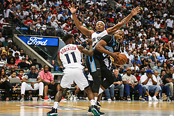 August 17, 2018 - Dallas, TX, U.S. - DALLAS, TX - AUGUST 17: Power Cuttino Mobley #5 tries to get past Tri-State Nate Robinson #11 and David Hawkins #34 during the Big 3 Basketball playoff game between the Power and the Tri-State on August 17, 2018 at the American Airlines Center in Dallas, Texas. Power defeats Tri-State 51-49. (Photo by Matthew Pearce/Icon Sportswire) (Credit Image: © Matthew Pearce/Icon SMI via ZUMA Press)