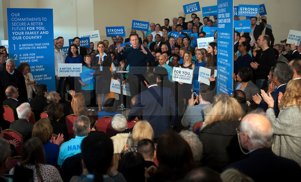 © Licensed to London News Pictures. 07/03/2015. <br /> LONDON, UK. British Prime Minister, David Cameron  delivers a speech in North London to mark two months until the General Election today, London, Saturday 07 March 2015. Photo credit : Hannah McKay/LNP