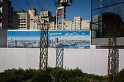 Blackfriars property development marketing suite hoarding landscape. A visual pun of the crane's structure that echoes that of the plant's texture shows us a humourous landscape. 1 Blackfriars or One Blackfriars, will be a mixed-use development approved for construction at the junction of Blackfriars Road and Stamford Street at Bankside, London. The development make make up a 52-storey tower of a maximum height of 170m and two smaller buildings of 6 and 4 stories respectively. Uses include residential flats, a hotel and retail. In addition a new public space will be created.