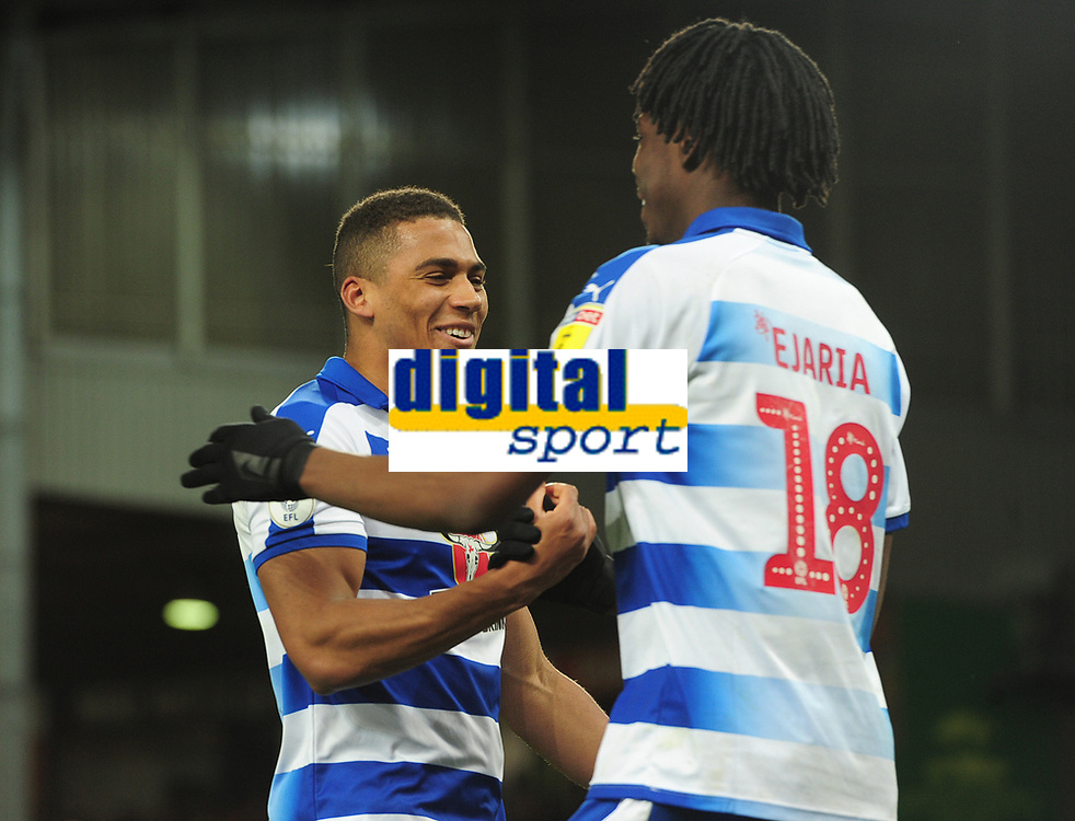 Football - 2018 / 2019 Sky Bet EFL Championship - Norwich City vs. Reading<br /> <br /> Andy Rinomhota of Reading his dramatic last equaliser, with Ovie Ejaria at Carrow Road.<br /> <br /> COLORSPORT/ANDREW COWIE