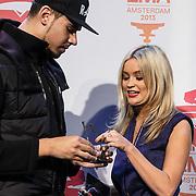 NLD/Amsterdam/20131109 - Pressconference MTV EMA 2013, Laura Whitmore and DJ Afrojack, Nick van der Wall