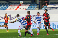 Football - 2020 / 2021 Sky Bet Championship - Queens Park Rangers vs AFC Bournemouth - Kiyan Prince Foundation Stadium<br /> <br /> Charlie Austin (Queens Park Rangers) holds off the attentions of Chris Mepham (AFC Bournemouth) as the ball drops <br /> <br /> COLORSPORT/DANIEL BEARHAM