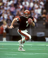 CINCINNATI, OH-UNDATED:  Boomer Esiason of the Cincinnati Bengals is pictured in action during an NFL game.  Esaison played in the NFL from 1984-1997.  (Photo by Ron Vesely)