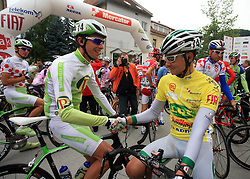 Radoslav Rogina of Croatia (Perutnina Ptuj) congratulates to Jure Golcer of Slovenia (LPR Brakes) just before the start in last 4th stage of the 15th Tour de Slovenie from Celje to Novo mesto (157 km), on June 14,2008, Slovenia. (Photo by Vid Ponikvar / Sportal Images)/ Sportida)