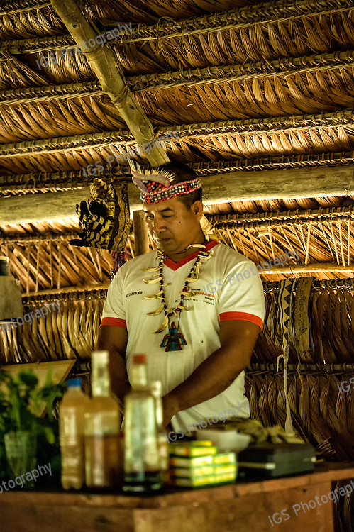 Shaman at the ReNuPeru Ethnobotanical Gardens in the Amazon Rainforest