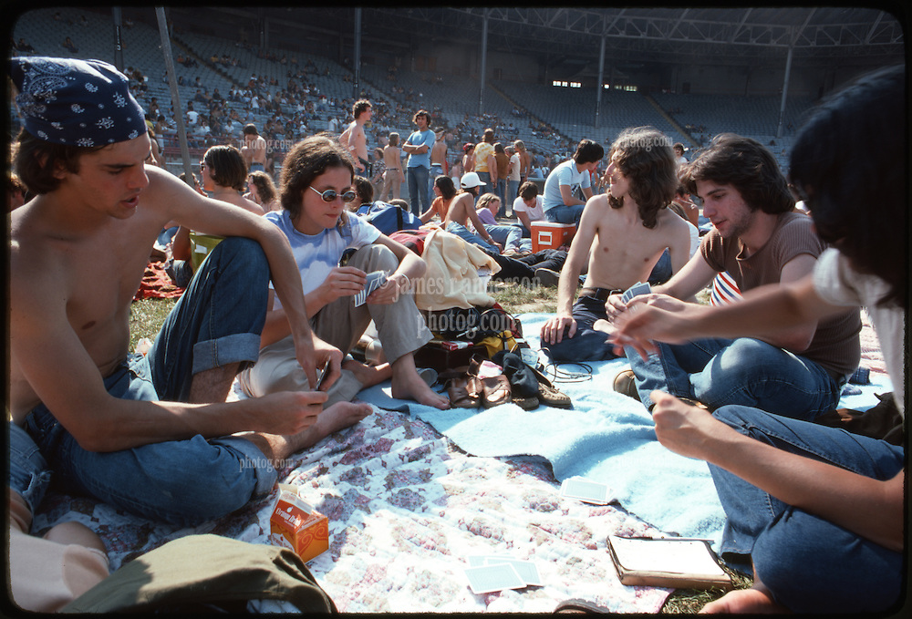 Playing Setback in the brilliant sun before the Grateful Dead Concert begins at Roosevelt Stadium 4 August 1976.