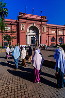 A group of Muslim women waling toward the entrance of the Egyptian Museum, Cairo, Egypt