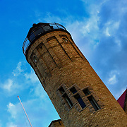 """""""The Tilting Point""""<br /> <br /> The beautiful tower section of the Old Mackinac Point Lighthouse in Mackinaw City Michigan.<br /> <br /> Lighthouses of the Great lakes by Rachel Cohen"""