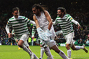 16.03.2013 Glasgow, Scotland.  Georgios Samaras, Mikael Lustig and Lassad celebrate the winning goal   during the Clydesdale Bank Premier League match between, Celtic and Aberdeen, from Celtic Park Stadium.