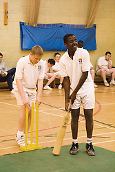 Group of secondary school students playing indoor cricket in the school sports hall,