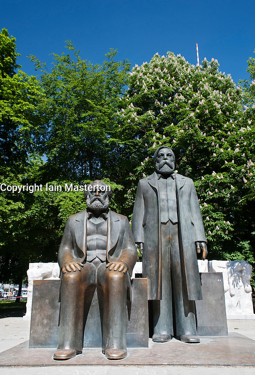 New location of Karl Marx Forum with statues of Karl Marx and Engels at Alexanderplatz in Mitte district of Berlin Germany