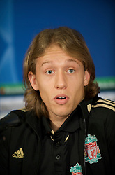 EINDHOVEN, THE NETHERLANDS - Monday, December 8, 2008: Liverpool's Lucas Leiva during a press conference at the Philips Stadium ahead of the final UEFA Champions League Group D mach against PSV Eindhoven. (Photo by David Rawcliffe/Propaganda)