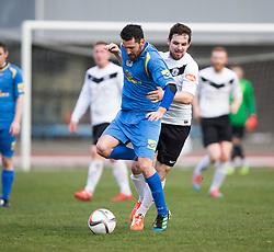 Gretna FC2008's Adam Main and Edinburgh City's Ian McFarland. <br /> Half time : Edinburgh City 0 v 0 Gretna FC2008, Scottish Sun Lowland League game played at Meadowbank Stadium, 28/3/2015.