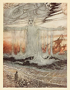The Shipwrecked man and the sea  from the book ' Aesop's fables ' Published in 1912 in London by Heinemann and in  New York by Page Doubleday Illustrated by Arthur Rackham,