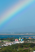 A colorful rainbow seen on the south side of Oahu, Hawaii.