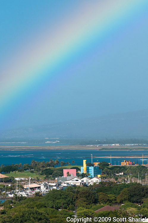 A colorful rainbow seen on the south side of Oahu, Hawaii.