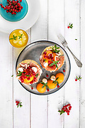 Plate with melon Italian prosciutto and mozzarella decorated with red currant and mint leaves
