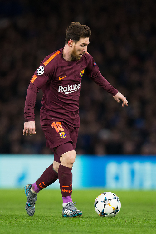 Barcelona's Lionel Messi in action <br /> <br /> Photographer Craig Mercer/CameraSport<br /> <br /> UEFA Champions League Round of 16 1st Leg - Chelsea v Barcelona - Tuesday 20th February 2018 - Stamford Bridge - London<br />  <br /> World Copyright © 2017 CameraSport. All rights reserved. 43 Linden Ave. Countesthorpe. Leicester. England. LE8 5PG - Tel: +44 (0) 116 277 4147 - admin@camerasport.com - www.camerasport.com