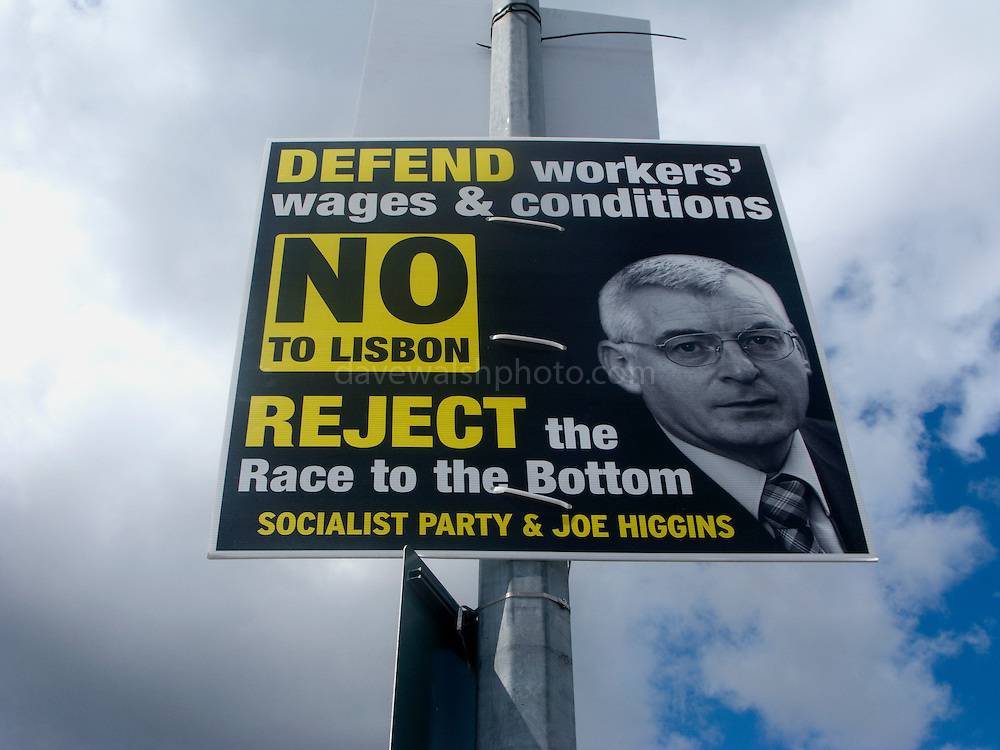 Editorial Use Only: Socialist Party's Joe Higgins says No to the Lisbon Treaty. The vote takes places on 12 June 2008. As of June 6th, the no-vote was reportedly overtaking the yes campaign...