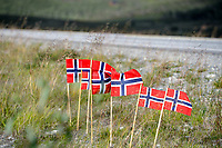 Illustration  Norwegian Flag during the Artic Race Norway 2014, Stage 2, Honningsvag (Nor)- Alta (Nor) (207km) on August 15, 2014. Photo Tim de Waele / DPPI
