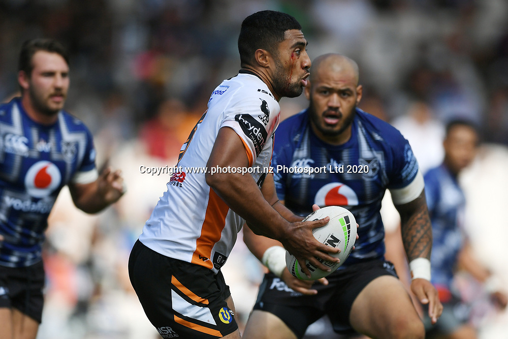 Wests Tigers Robert Jennings is tackled in the NRL Trial, Vodafone Warriors v Wests Tigers, Rotorua Stadium, Rotorua, Sunday, March 01, 2020. Copyright photo: Kerry Marshall / www.photosport.nz
