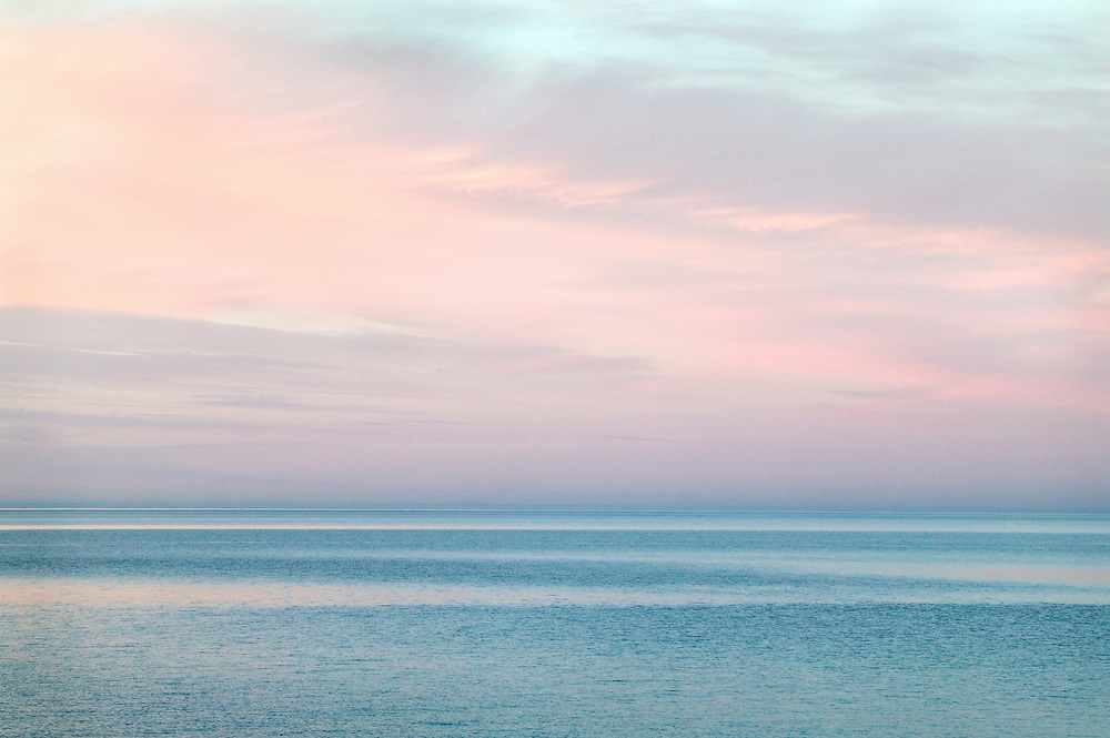 Post Sunset Light on Clouds and Water, Lake Superior, Michigan