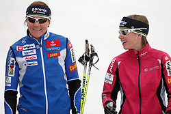 Slovenian cross-country skiers Petra Majdic and Vesna Fabjan at Alpina presentation of new cross-country shoes with red dot award: product design, on April 24, 2008, in Pokljuka, Rudno polje, Slovenia.  (Photo by Vid Ponikvar / Sportal Images)/ Sportida)