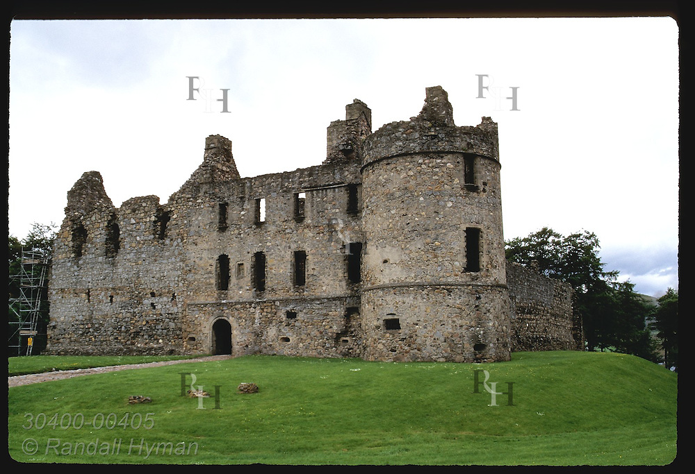 Balvenie Castle, dating from 13th century, sits beneath stormy July sky; Dufftown, Speyside. Scotland
