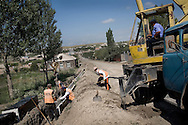 Construction of the road leading from Gyumri to Kars-in Turkey in a village Voskehask ..