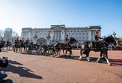 © Licensed to London News Pictures. 06/02/2020. London, UK. The king's Troop Royal Horse Artillery ride past Buckingham Palace as they made their way to Green Park for the 41-gun salute to mark the 68th anniversary of the Queen's Accession to the Throne. Photo credit: Alex Lentati/LNP