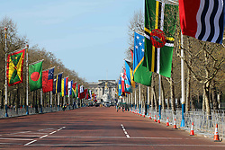 April 18, 2018 - London, United Kingdom - The flags of Commonwealth member states on display on The Mall in central London, with Buckingham Palace in the background, on the occasion of the Commonwealth Heads of Government meeting in the UK capital, on 18 April 2018 (Credit Image: © Dominic Dudley/Pacific Press via ZUMA Wire)