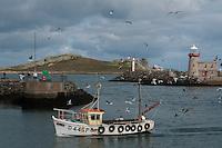 Irish fishing boat coming back from a day at sea, Howth harbour, Dublin, Ireland. // <br /> Irisches Fischerboot, das von einem Tag auf See zurückkommt, Hafen von Howth, Dublin, Irland. //<br /> Bateau de pêche irlandais revenant d'une journée en mer, port de Howth, Dublin, Irlande.