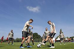 (L-R), Zakaria Labyad of Ajax, Carel Eiting of Ajax, Donny van de Beek of Ajax, Perr Schuurs of Ajax, Noa Lang of Ajax, Perr Schuurs of Ajax, Dani de Wit of Ajax during a trainings session of Ajax Amsterdam in Marienfeld on June 27, 2018 in Marienfeld, Germany