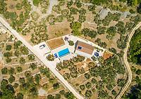 Aerial view of villa with swimming pool in Sumartin, Brac island, Croatia.