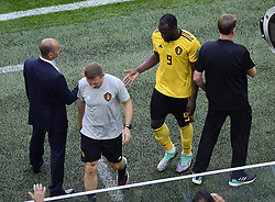 July 14, 2018 - Saint Petersbourg, Russie - SAINT PETERSBURG, RUSSIA - JULY 14 : Romelu Lukaku forward of Belgium & Roberto Martinez head coach of Belgian Team during the FIFA 2018 World Cup Russia Play-off for third place match between Belgium and England at the Saint Petersburg Stadium on July 14, 2018 in Saint Petersburg, Russia, 14/07/18 (Credit Image: © Panoramic via ZUMA Press)
