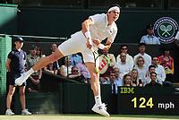 Tennis - 2017 Wimbledon Championships - Week Two, Wednesday [Day Nine]<br /> <br /> Men's Singles, Quarter Final match<br /> <br /> Roger Federer (SUI) vs. Milos Roanic (CAN)<br /> <br /> Milos Roanic  on  Centre Court <br /> <br /> COLORSPORT/ANDREW COWIE