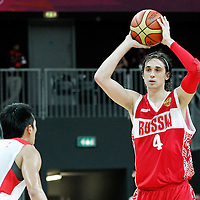 31 July 2012: Russia Alexey Shved looks to pass the ball during the 73-54 Russia victory over China, during the men's basketball preliminary, at the Basketball Arena, in London, Great Britain.