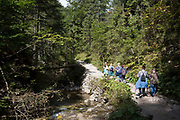 Hikers walk on the footpath near Sarnia Skala, a mountain in the Tatra National Park, on 16th September 2019, near Koscielisko, Zakopane, Malopolska, Poland.