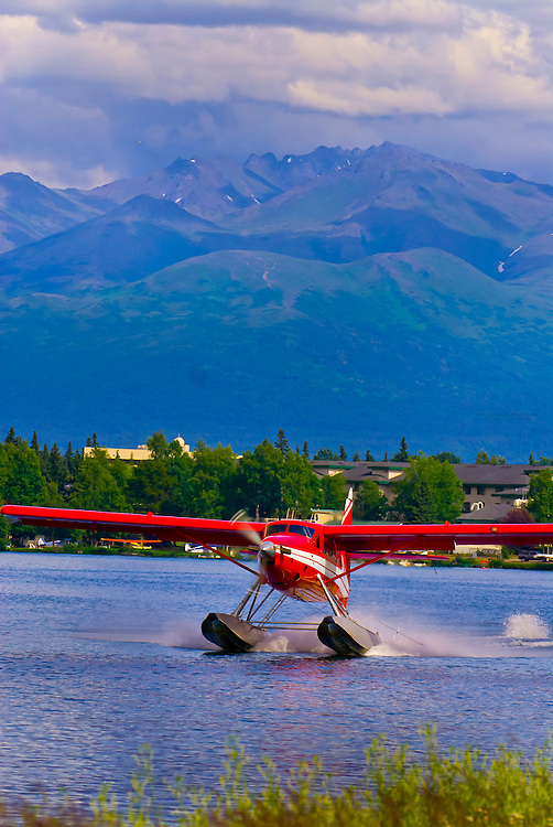 Seaplane landing at Lake Hood Seaplane Base (the busiest seaplane base in the world), Anchorage, Alaska
